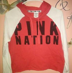 Victoria's Secret  Pink Nation Red & White Hoodie